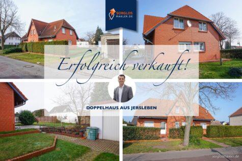 Schöne Doppelhaushälfte mit Garage + Garten – in attraktiver Wohnlage – unweit des Jersleber See, 39326 Jersleben, Doppelhaushälfte